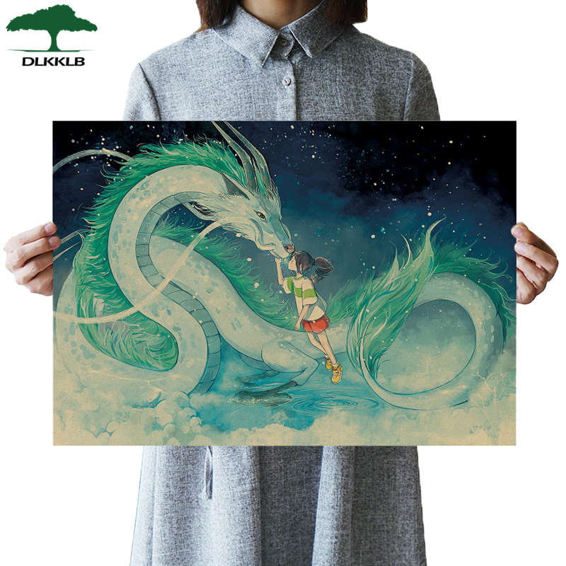 DLKKLB Famous Hayao Miyazaki Anime Movie Spirited Away Poster Kraft Paper Bar Home Decor Poster Decorative Painting Wall Sticker image