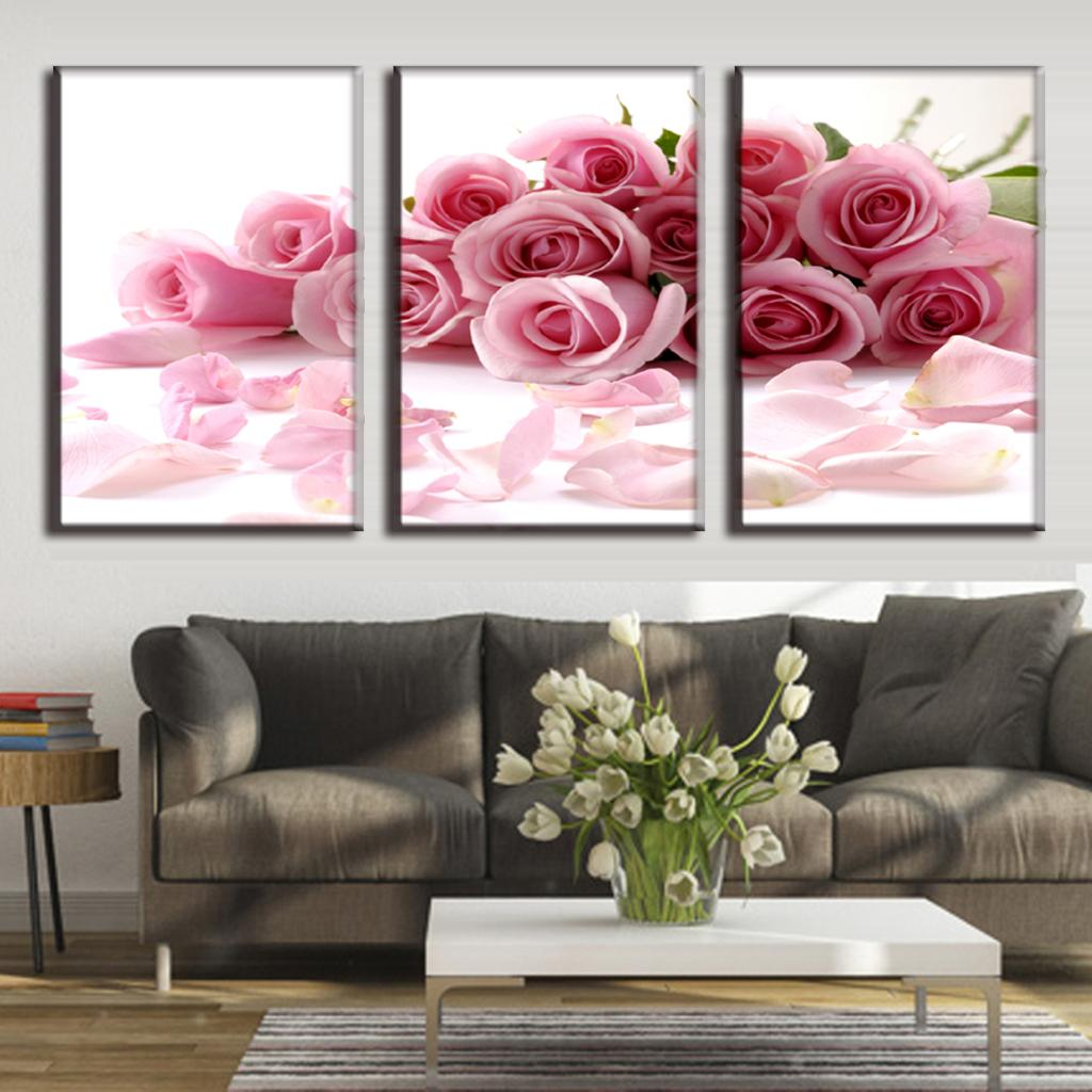 3 Pcs Set Framed Flower Canvas Print Rose Bouquet Pink Modern Wall Pictures For Living Room Art Picture In Painting Calligraphy From Home