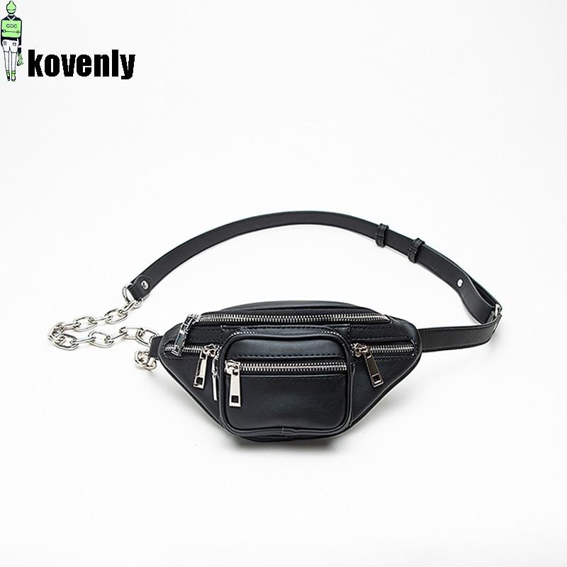 Women Chest Bag Mini Zipper Shoulder Bags Street Style Waist Bag Fashion Casual Zipper Pouch Black Travel Chain Belt Bag B175