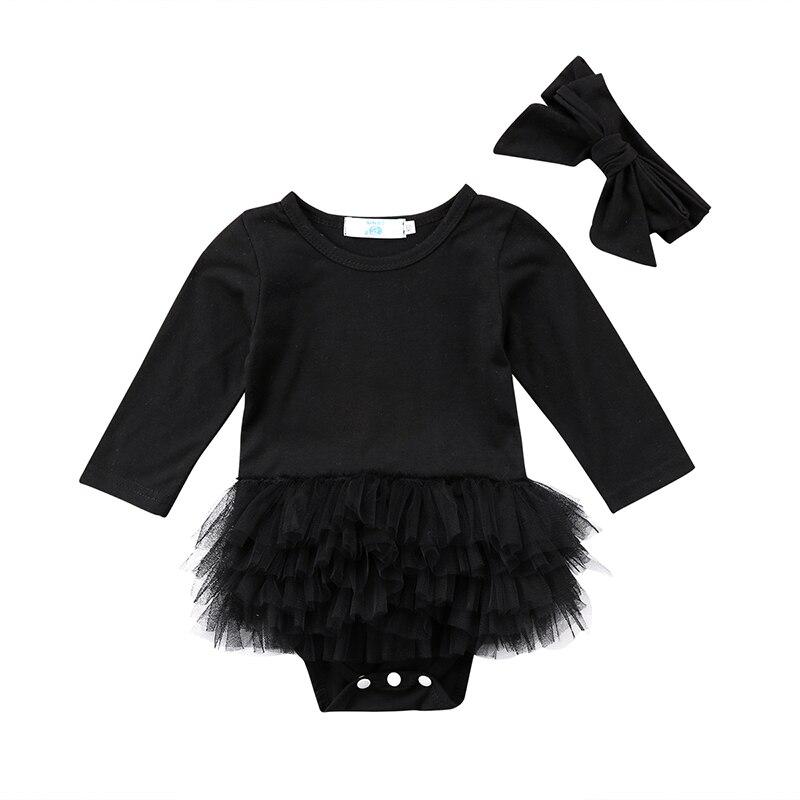 Cute Newborn Baby Girl Long Sleeve Tutu Skirted   Romper   Jumpsuit Headband 2PCS Outfits Princess Baby Clothes Black