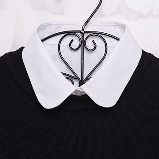 1PC Women Solid Shirt False Collar 2