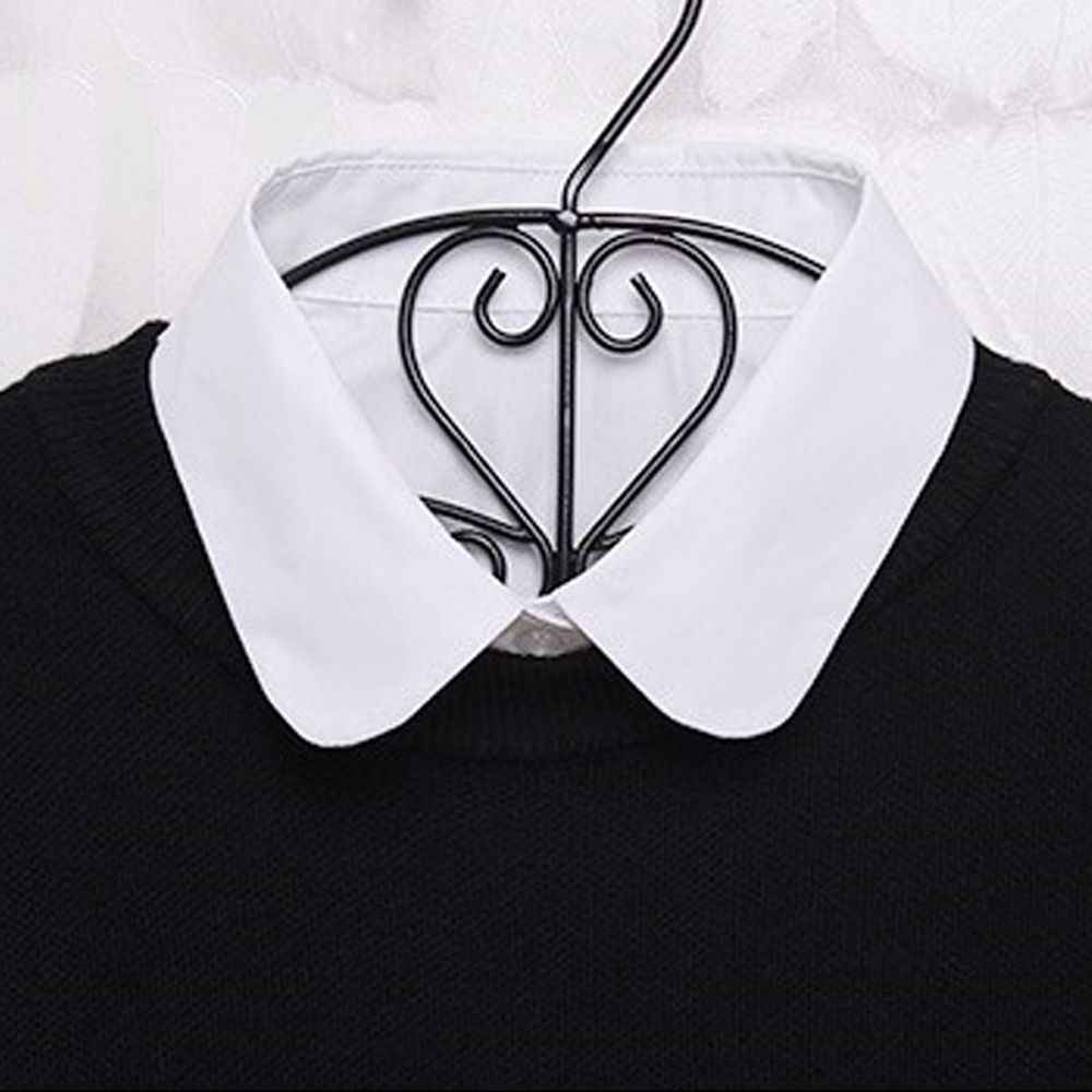 1 قطعة الصلبة المرأة القطن الدانتيل كاذبة قميص الياقات الأبيض والأسود بلوزة خمر انفصال الملابس قميص وهمية طوق