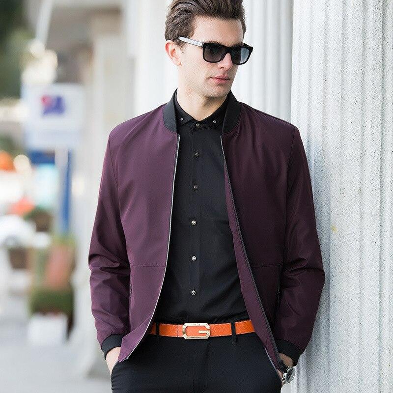 2018 herbst Jugend Casual Zipper Fly Herren Jacken Und Mäntel Mode Marke Reine Farbe Lange Hülse Lose Bomber Jacke Männer mantel