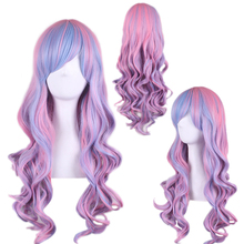 High Quality Mix Blue Pink Highlights On Hair Synthetic Anime Cosplay Wig Long Wavy Wigs For Women High Temperature Fiber