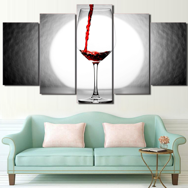 5 Pieces Poster Canvas Print Art Framed Home Decor Wine Glass Canvas ...