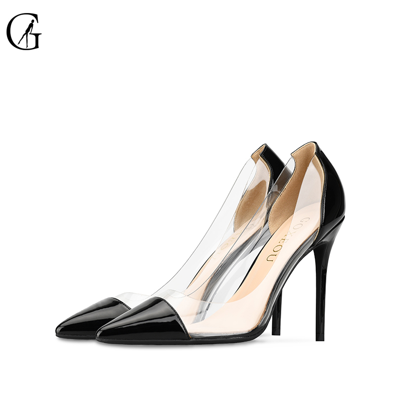 GOXEOU Women Pumps 2019 Transparent 10cm High Heels Sexy Pointed Toe Slip on Wedding Party Shoes