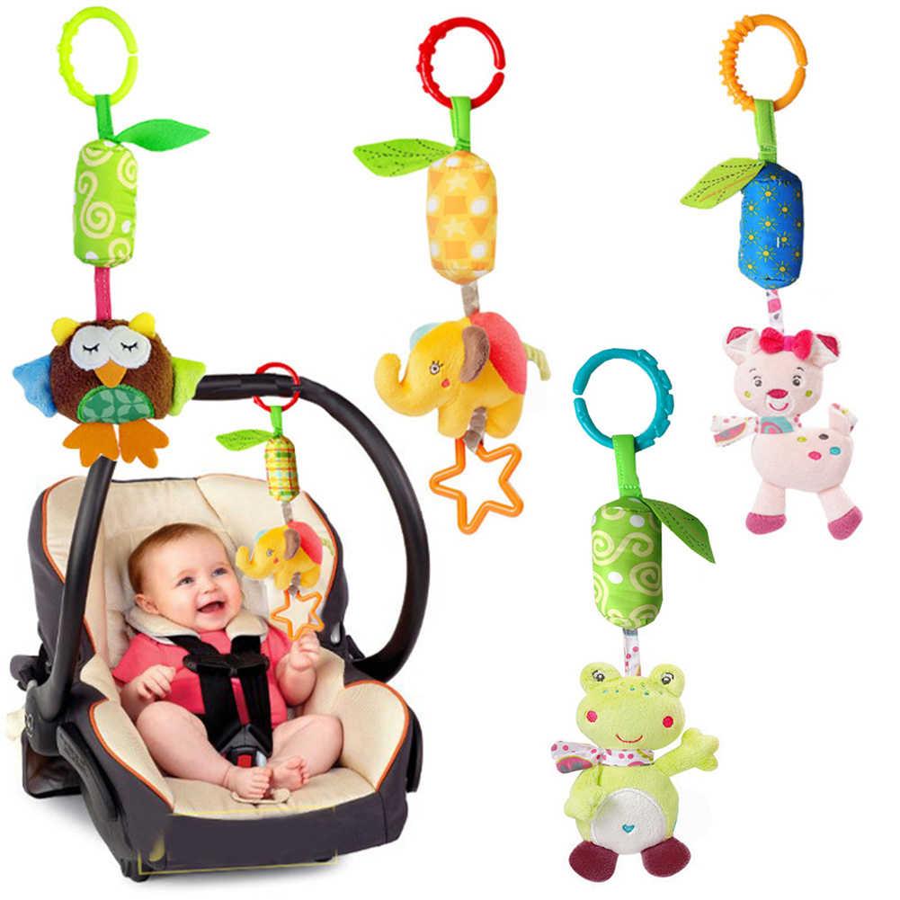 Sonajeros para bebés, sonajeros de felpa con forma de Animal de dibujos animados para bebés recién nacidos, sonajeros colgantes para bebés, regalos para bebés