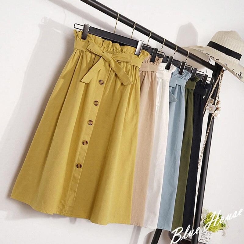 Été automne jupes femmes 2018 Midi genou longueur coréen élégant bouton taille haute jupe femme plissée école jupe