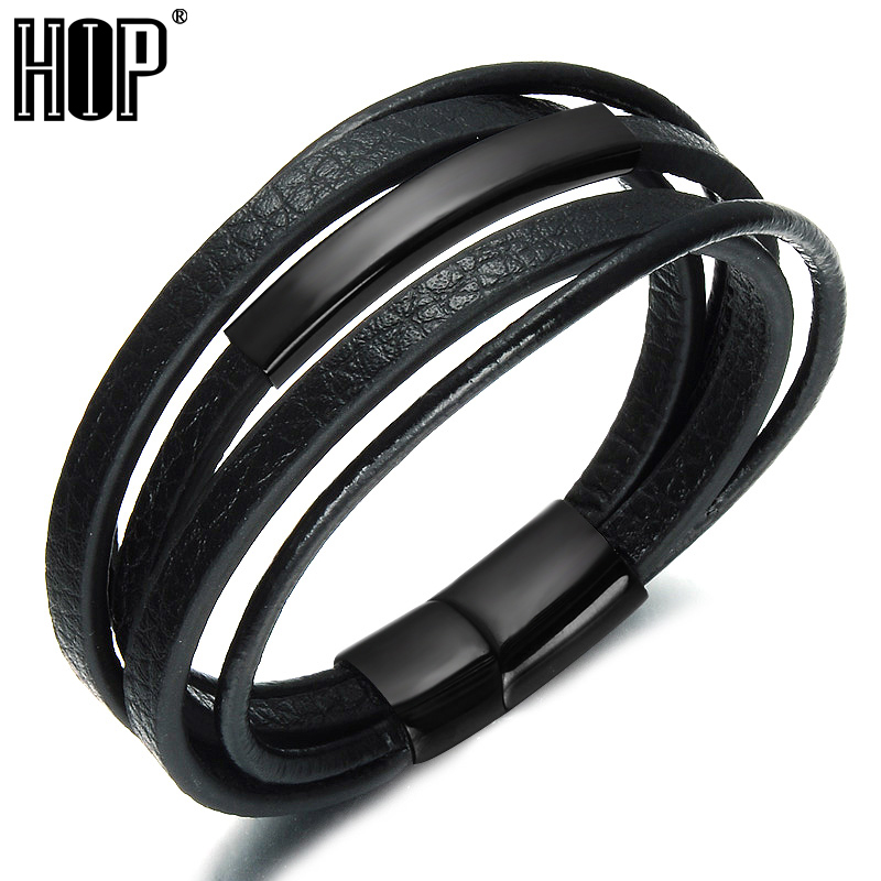 HIP Black Color Magnetic Clasp Men Bracelets & Bangles Punk Black Multilayer Genuine Leather Rope Chain Bracelet Men Jewelry