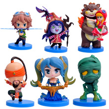 2016 NEW Hot Action Figure Toys 6pcs/set 8CM Annie Amumu Lulu Sona Lee Sin Ezreal Cool Christmas gift doll