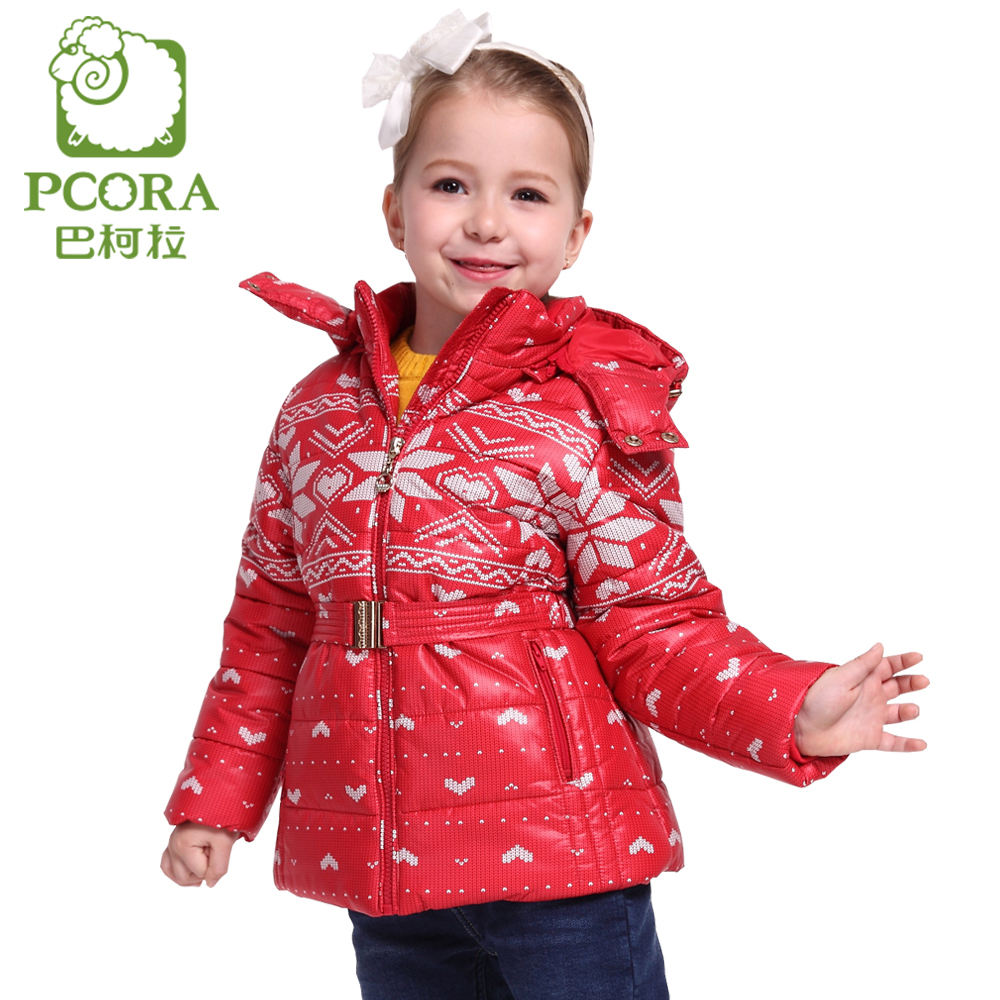PCORA Kids Winter Jacket for Girl Red Girls Outerwear Children Parkas Windbreaker Size 3T~14T Winter Jackets and Coats Girls