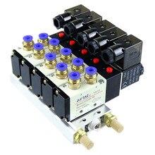 4V210-08 DC 12V Quintuple Solenoid Valve 6mm Connectors Silencers Base Set 6-02