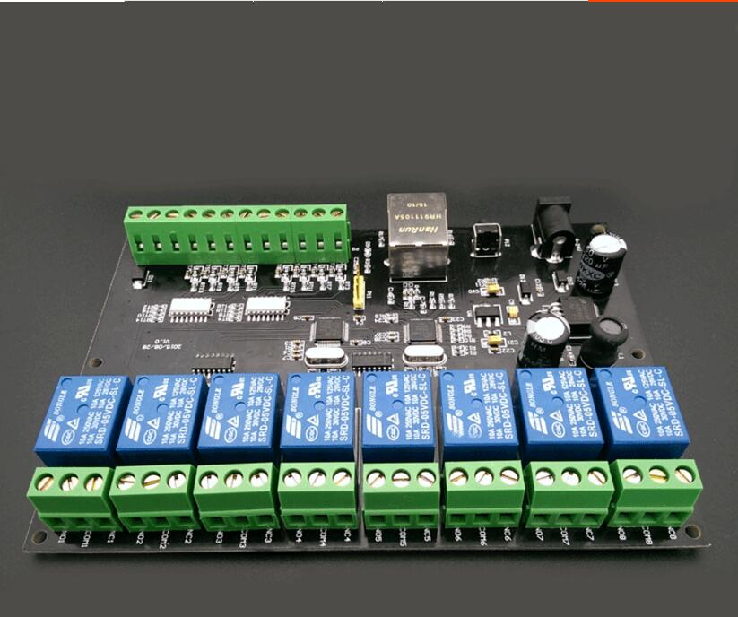 8 way 10A network relay IP/ Ethernet access controller TCP MODBUS 8 in 8 out of the switch transmission цена и фото