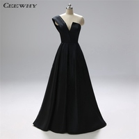 CEEWHY One Shoulder Black Formal Dress Women Elegant Plus Size Evening Dress Long Gown Avondjurk Vestidos de Mujer Fiesta Noche