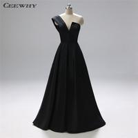 CEEWHY One Shoulder Black Formal Dress Women Elegant Plus Size Evening Dress Long Gown Avondjurk Vestidos de Mujer Fiesta Noche