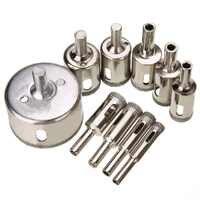 10pcs Diamond Hole Saw Marble Drill Bit Set 8/10/12/14/16/18/20/22/25/50mm For Tile Ceramic Glass Granite Drilling