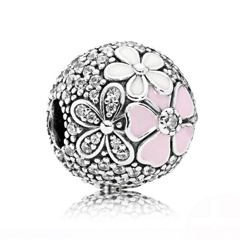 Genuine 925 Sterling Silver Stopper Poetic Blooms, Pink Cz Clip Beads Fit Original Pandora Charm Bracelet Diy Fine Jewelry Gift