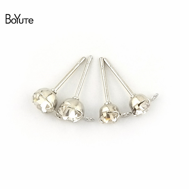 BoYuTe (20 PiecesBag) 4-5-6-8MM Crystal Stud Earrings Gold White K Plated Ear Pin with Loop Diy Hand Made Jewelry Accessories (3)