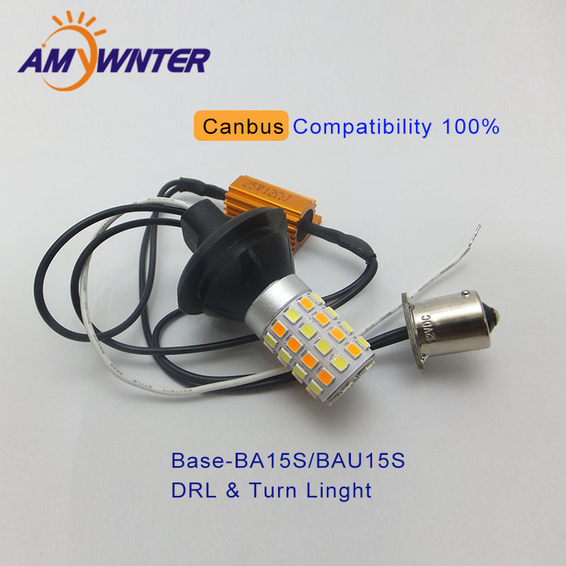 AMYWNTER P21W Canbus BA15S 25W Car DRL LED Light Dual Color Switchback BAU15S Lamp Bulb Daytime Running Light wljh 2x canbus led 20w 1156 ba15s p21w s25 bulb 4014smd car lamp drl daytime running light for volkswagen vw t5 t6 transporter
