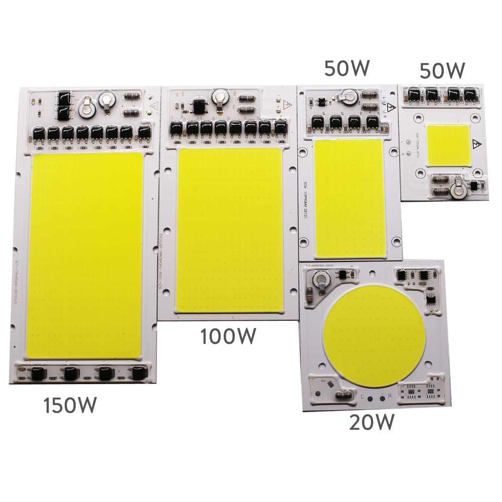 20W 50W 100W 150W COB Smart IC LED Chip Bead Lamp No Need Driver Cool White High Power AC 220V For DIY Floodlight Spotlight