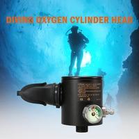 Oxygen Cylinder Head 0.5L Oxygen Cylinder Head Scuba Respirator Part Diving Regulator Breather with Gauge Water Sports