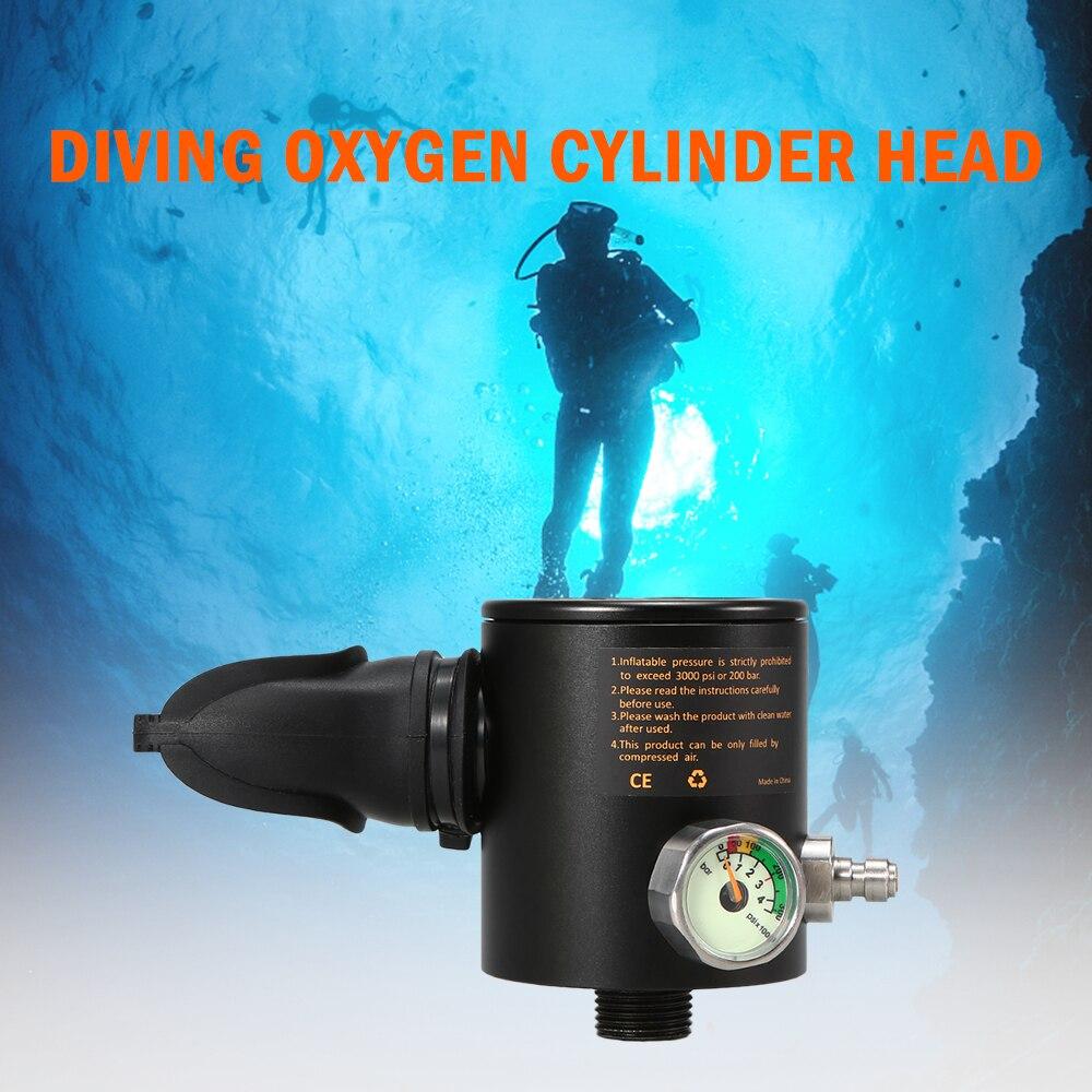 Tête de cylindre d'oxygène 0.5L tête de cylindre d'oxygène respirateur de plongée partie régulateur de plongée reniflard avec jauge Sports nautiques