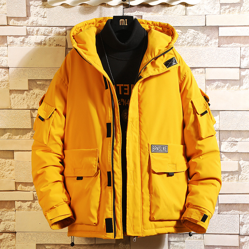 Nouveau coton de manteau hommes d'hiver à capuchon veste outillage vers le bas coton veste, tendance grande taille épais court solide couleur outillage veste