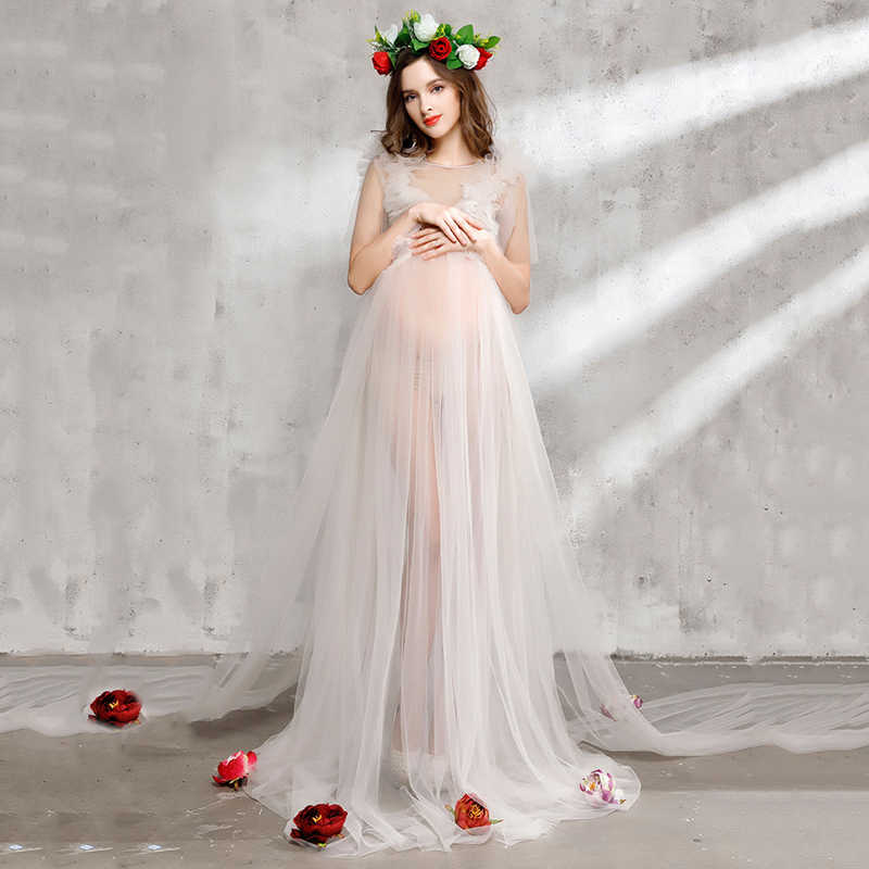 c0b115a068b Bear Leader Maternity Dress 2018 New Maternity Photography Props Maternity  Party Dress Voile And Flowers Design