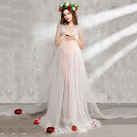 Bear Leader Maternity Dress 2017 New Maternity Photography Props Maternity Party Dress Voile And Flowers Design
