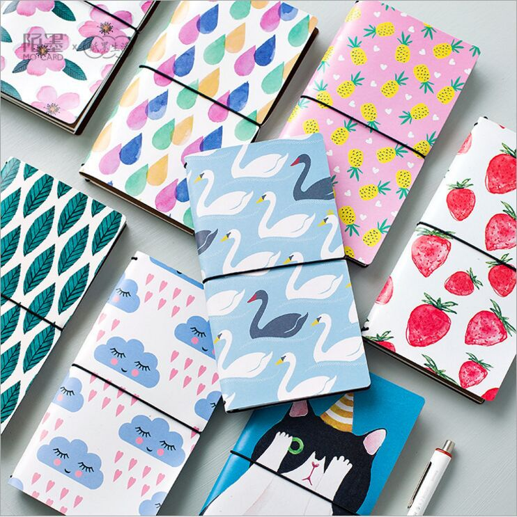 8 Styles Creative Kawaii Cartoon DIY Monthly Schedule Notebook Leather Bound Travel Journal Diary Planner Agenda Gift Notepad