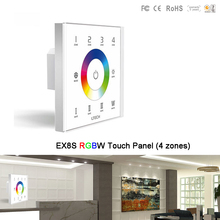 цена на EX8S Wall Mount 2.4G RF 4 zones RGBW led Touch Panel AC100~240V LED Switch Controller,F8 RGBW remote control,for RGBW led strip