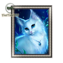 FineTime Animal White Cat 5D DIY Diamond Painting Partial Drill Diamond Embroidery Cross Stitch Mosaic Painting finetime white tiger 5d diy diamond painting partial drill diamond embroidery cross stitch animal mosaic painting