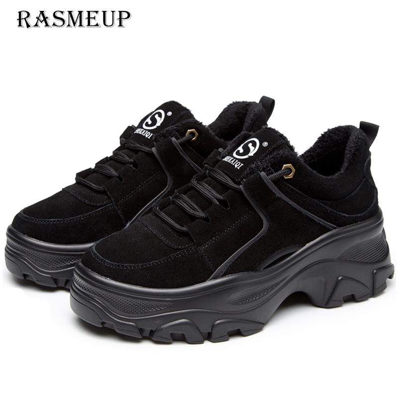 RASMEUP 本革の女性のプラットフォームスニーカー 2018 冬暖かい女性分厚いスニーカーファッション厚い唯一の女性フラットお父さんの靴  グループ上の 靴 からの レディースヴァルカナイズシューズ の中 1