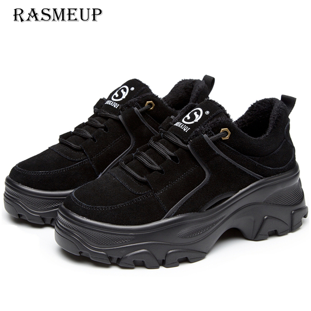RASMEUP Genuine Leather Womens Platform Sneakers 2018 Winter Warm Women Chunky Sneaker Fashion Thick Sole Ladies Flat Dad Shoes