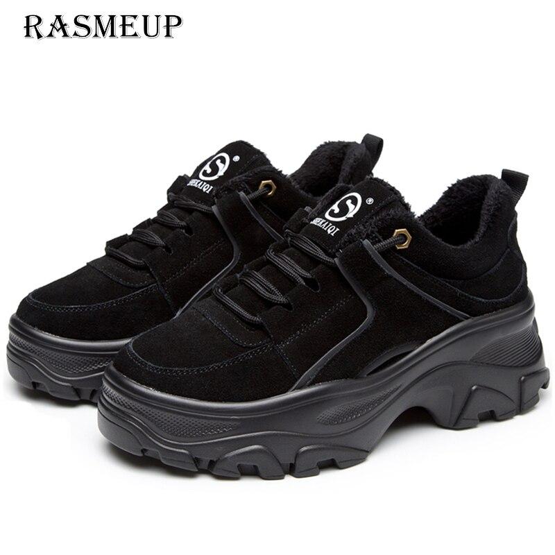 RASMEUP de mujer de cuero genuino plataforma de zapatillas de deporte de invierno de 2018 mujeres grueso zapatillas de deporte de moda suela gruesa planos de las señoras zapatos de papá
