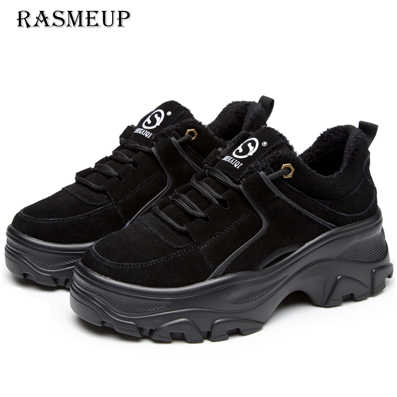 RASMEUP en cuir véritable femmes plate-forme baskets 2018 hiver chaud femmes Chunky Sneaker mode épaisse semelle dames plat papa chaussures