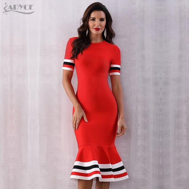 Adyce 2018 Summer Bandage Dress Women Sexy Red Short Sleeve Mermaid Dress Vestido Runway Celebrity Evening Party Dress Clubwears