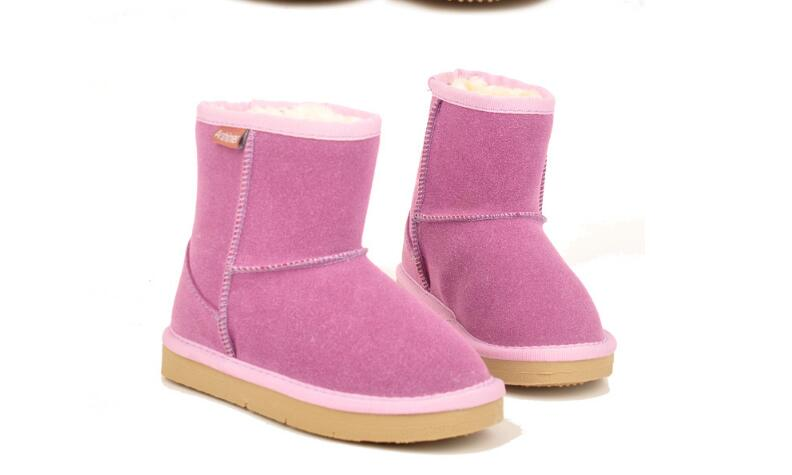 2018 winter children's snow boots parent-child boots leather warm cotton boots child SIZE35