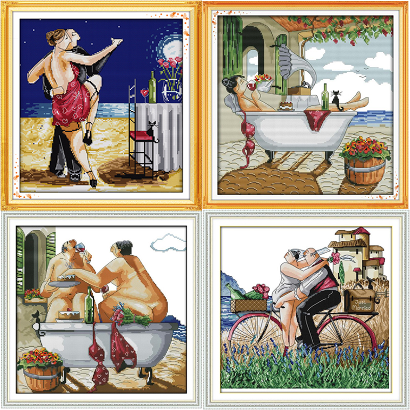 Oneroom Enjoy Life Series Tango Lovers Stamped And Counted Cross Stitch Pattern Kits DMC Printed Embroidery Needlework Sets