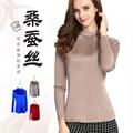 The High-end Temperament Silk Female Silk Knit T-shirt Long Sleeve Shirt  Collar Semi Solid