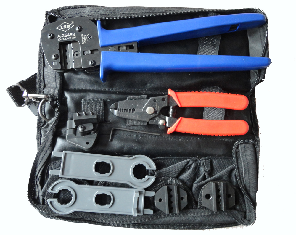цена на ISO9001:2008 A-K2546B tool set MC4 crimping tool MC3 crimping die sets cable stripper, MC4 spanner combination solar PV Tool set