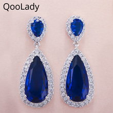 QooLady Fashion Simple Mirco Pave Blue Cubic Zirconia Stone Large Dangle Drop Cocktail Party Earrings for Women Jewelry E012