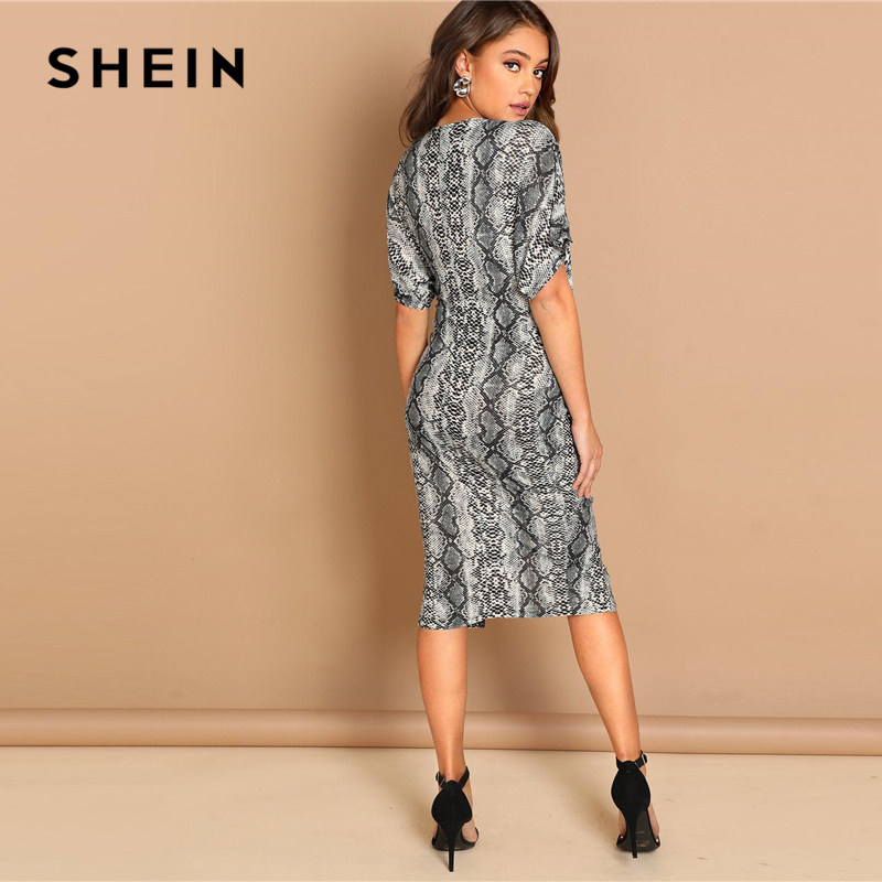c74a246a5114 SHEIN Multicolor Twist Split Front Leopard Print Dress V Neck Sheath Autumn  Party Going Out Modern Lady Women Elegant Dresses-in Dresses from Women's  ...