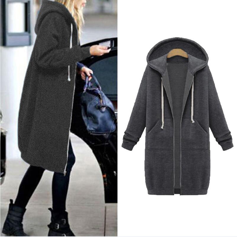 SHIBEVER Hooded Fleece Women   Jacket   Coat Long Zip-up Casual Autumn Winter Warm   Basic     Jackets   Cotton Plus Size Overcoat BLD1227
