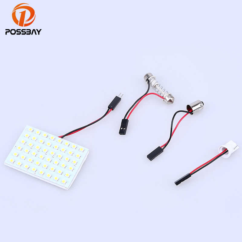 POSSBAY LED Panel 12SMD 24SMD 36SMD 48SMD White Car Reading Map Lamps T10 BA9S Auto Interior Dome Roof Lights With Adapters