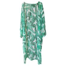 Womens Summer Chiffon Semi-Sheer Maxi Kimono Cardigan Top Green Tropical Banana Leaves Printed Bikini Cover Up 3/4 Sleeves Open