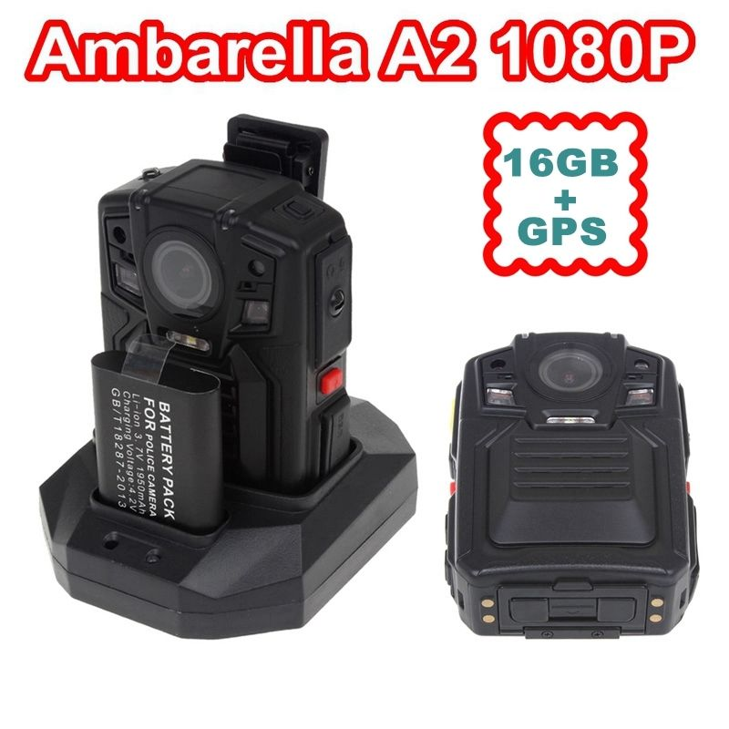 Free shipping! Ambarella A2 16M Police Body Worn Camera 16GB GPS HD 1080P 2.0