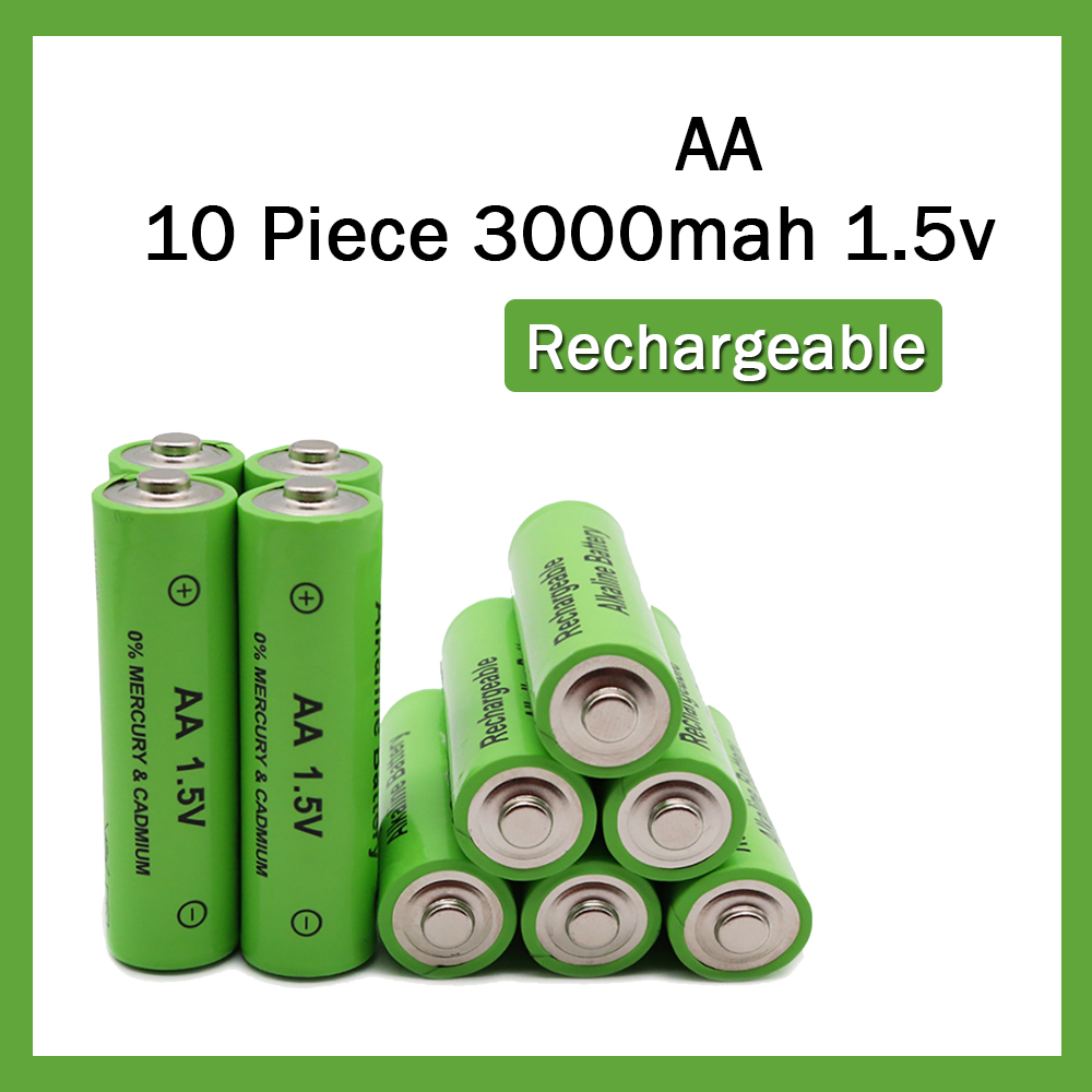 Yangmaile 10 Piece AA 1.5V 3000mAh Rechargeable Alkaline battery for Flashlight Torch Li-ion Batteries on Toy Remote Control image