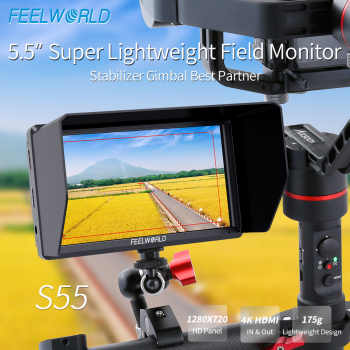 FEELWORLD S55 5.5 inch DSLR Camera Monitor 4K HDMI LCD IPS HD 1280x720 Display Field Monitor for Cameras Shooting Filmmaking - DISCOUNT ITEM  0% OFF All Category