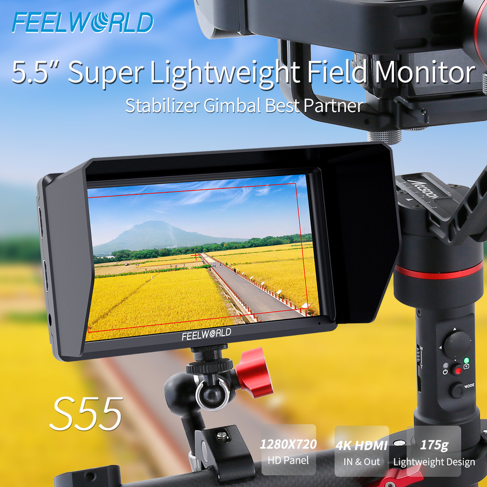 FEELWORLD S55 5.5Inch IPS DSLR Camera Field Monitor 4K HDMI 1280x720 DC Output LCD Monitor for Sony Nikon Canon Cameras Shooting